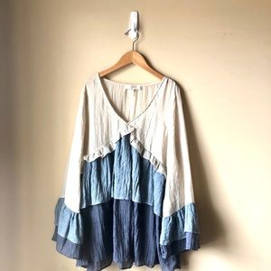 Entro Ruffle blue and beige Top Botique Style